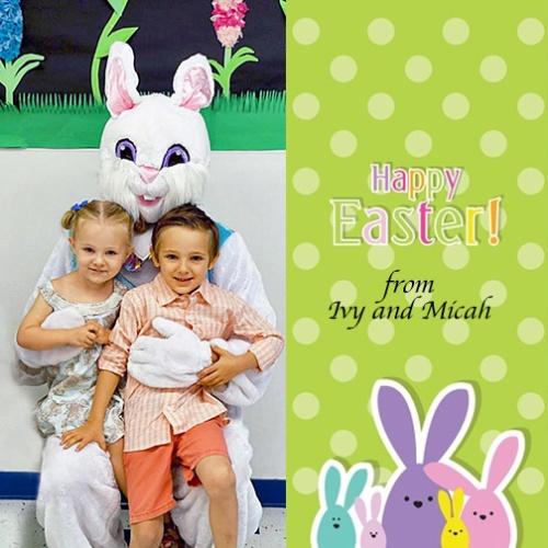 ivy and micah and easter bunny